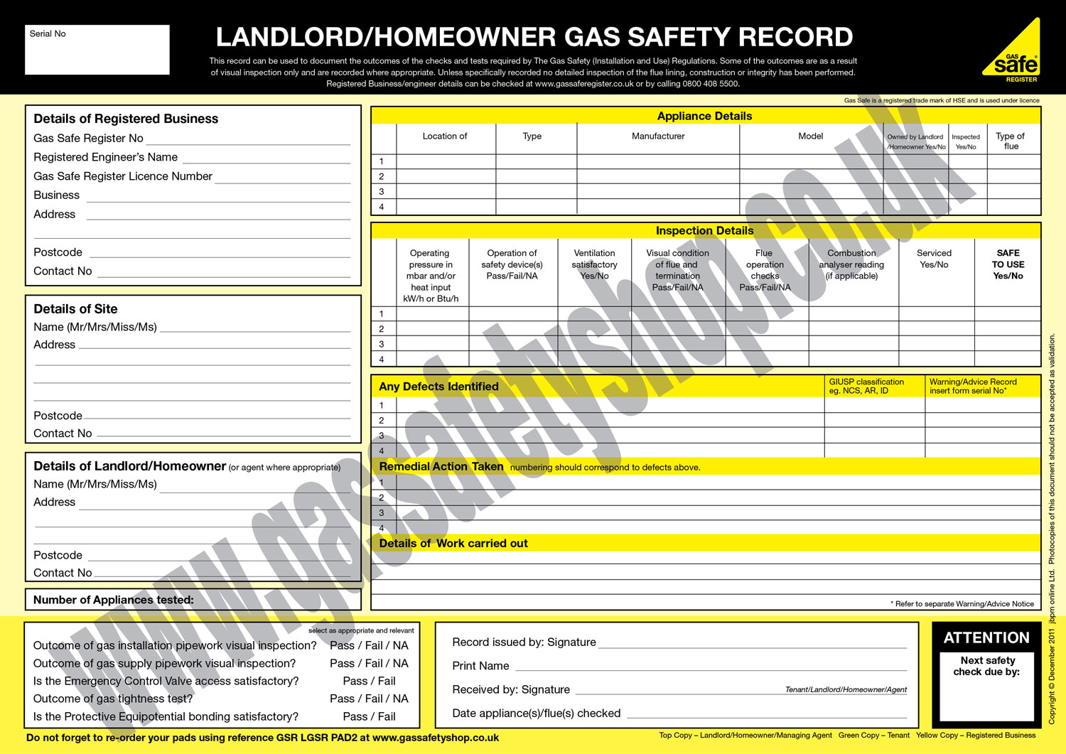 Sample Gas Safety Certificate
